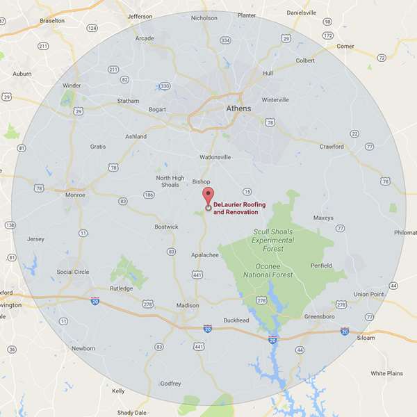 Service Area of Delaurier Roofing and Renovation Services which includes Athens and Watkinsville Georgia.
